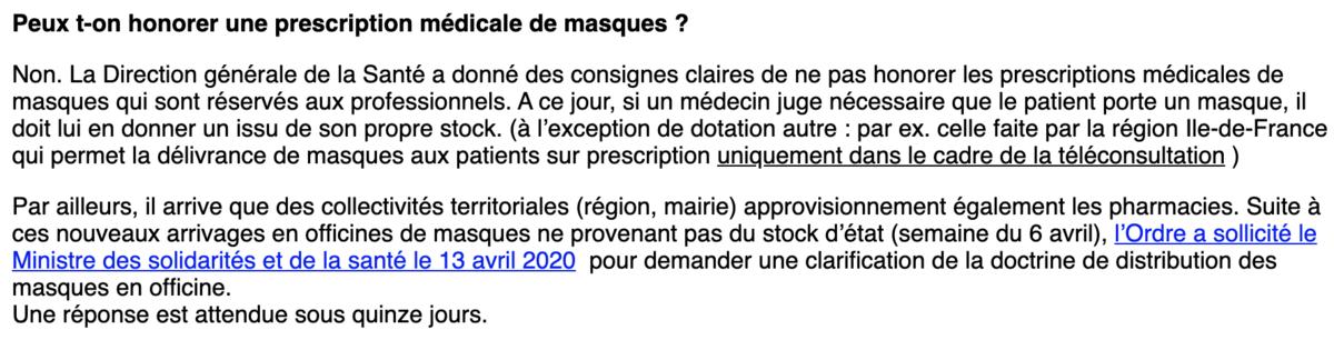 Message de l'Ordre aux pharmaciens, encore présent sur le site de l'Ordre des Pharmaciens - Copie d'écran