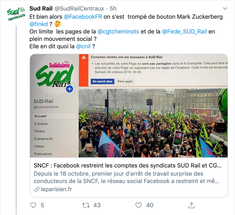 Tweet de Sud Rail - Copie d'écran
