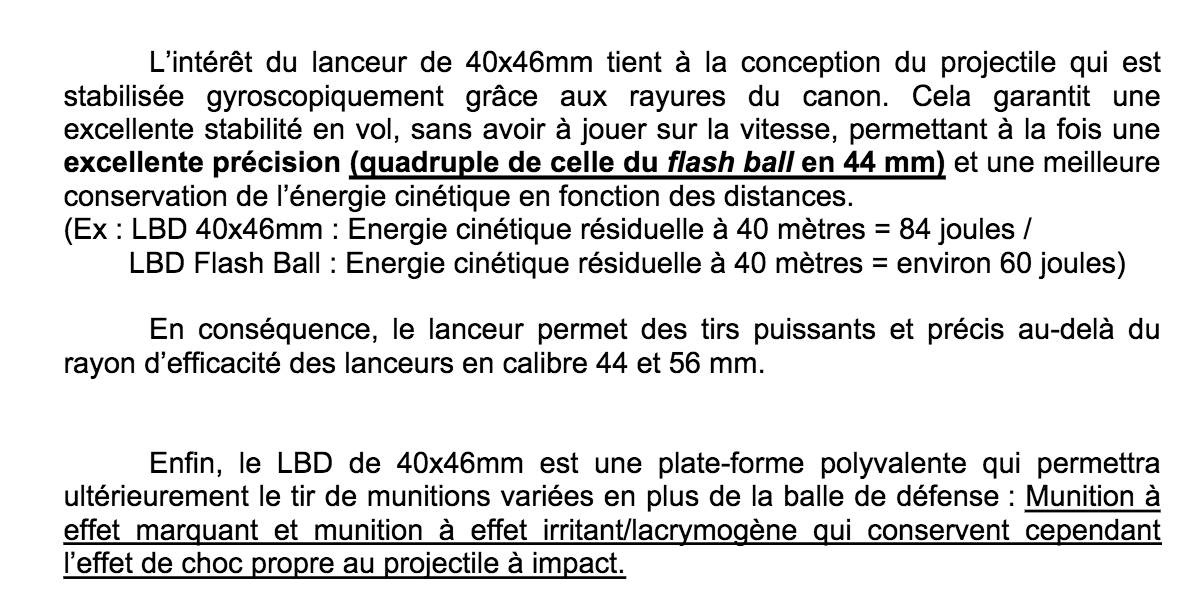 Descriptif du LDB 40 par la police dans un document interne - D.R.