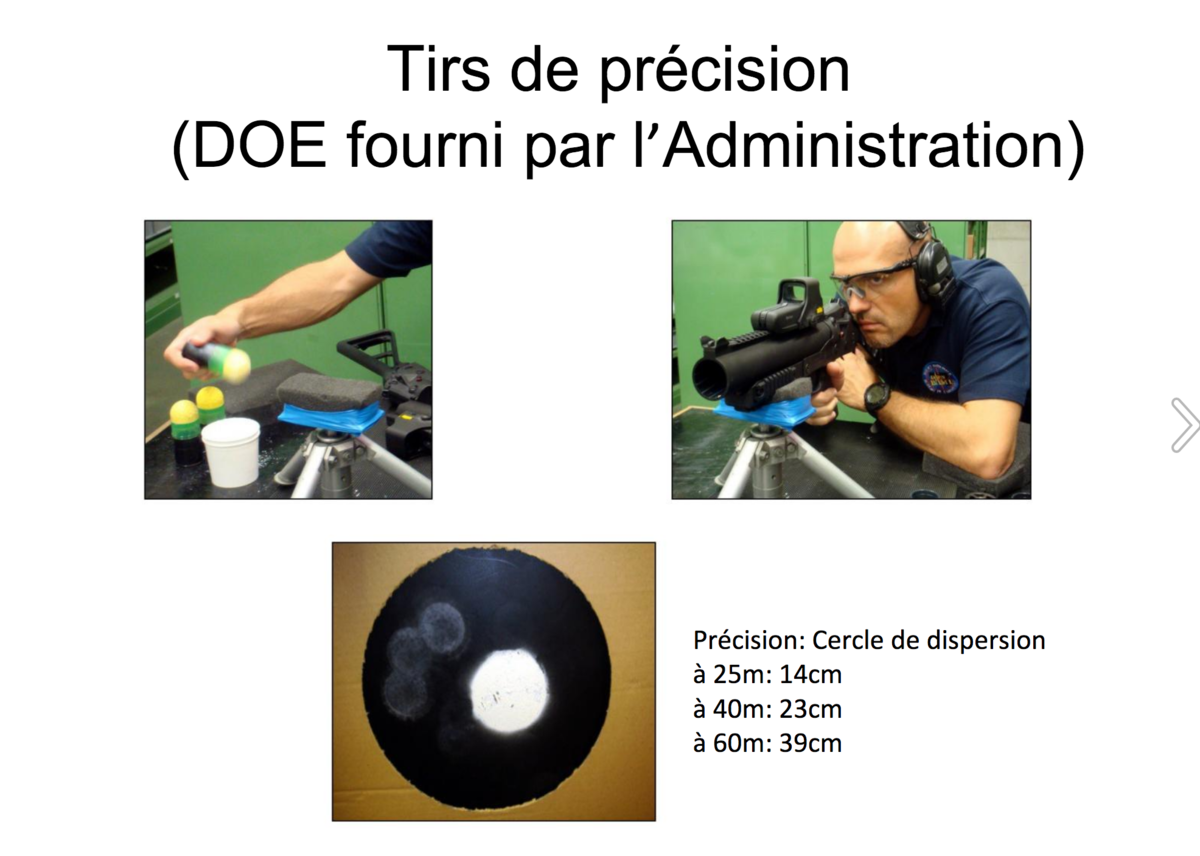 Test de précision du LBD par la police nationale (document Taranis) - Taranis