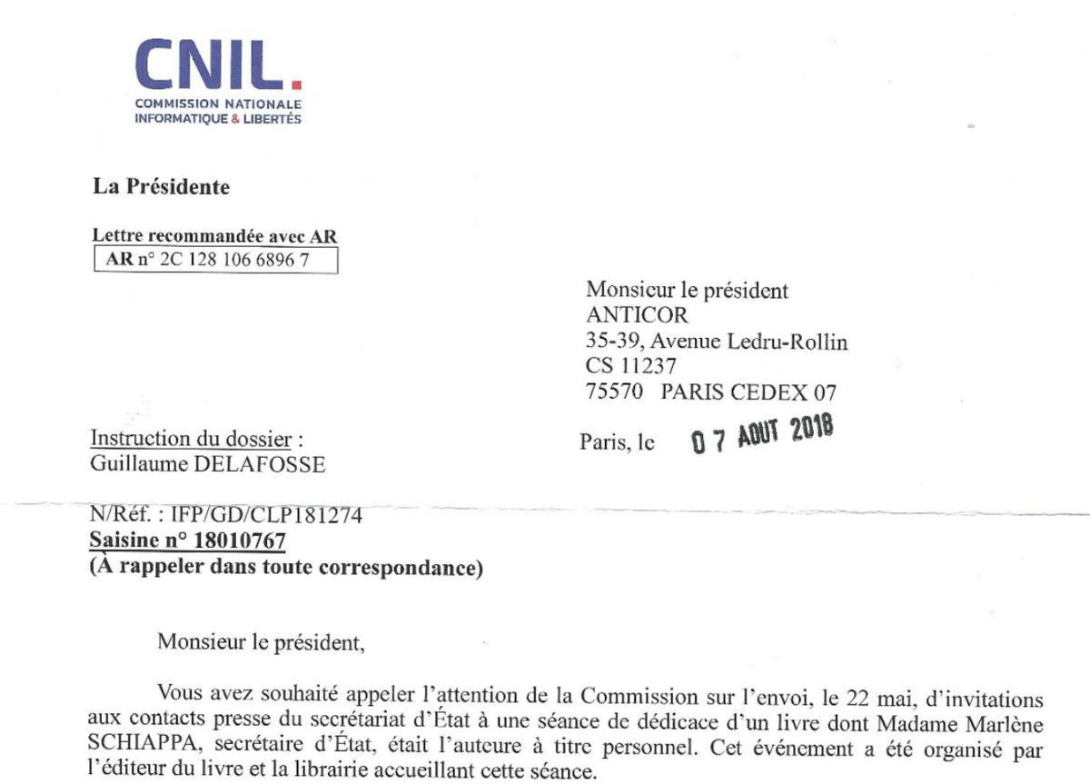 Lettre de la CNIL adressée à Anticor - Copie d'écran - CC