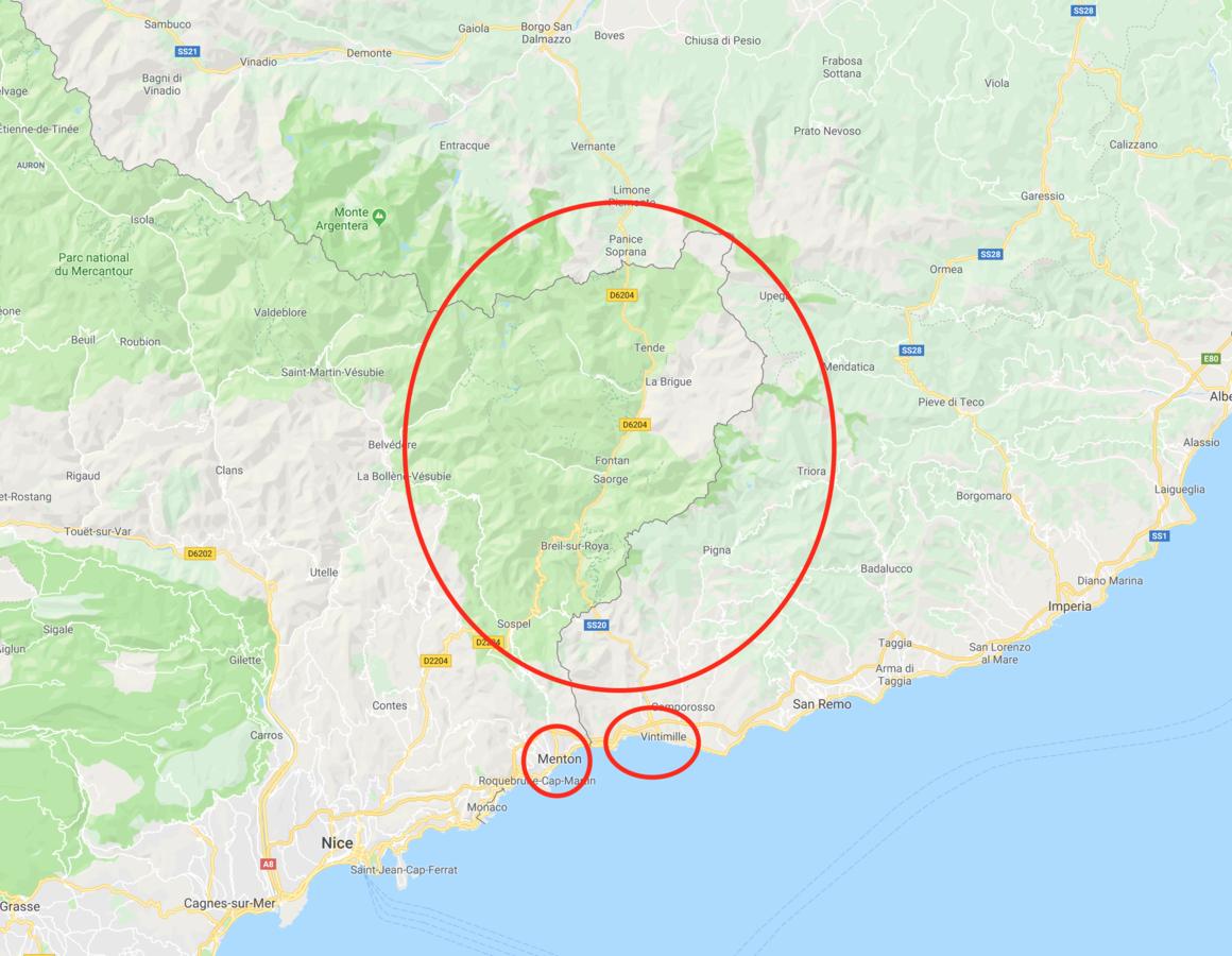La vallée de la Roya - Copie d'écran Google Maps - CC