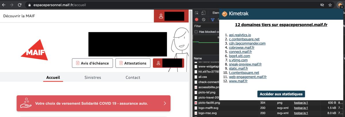 Page de connexion à l'espace personnel de la Maif - Copie d'écran