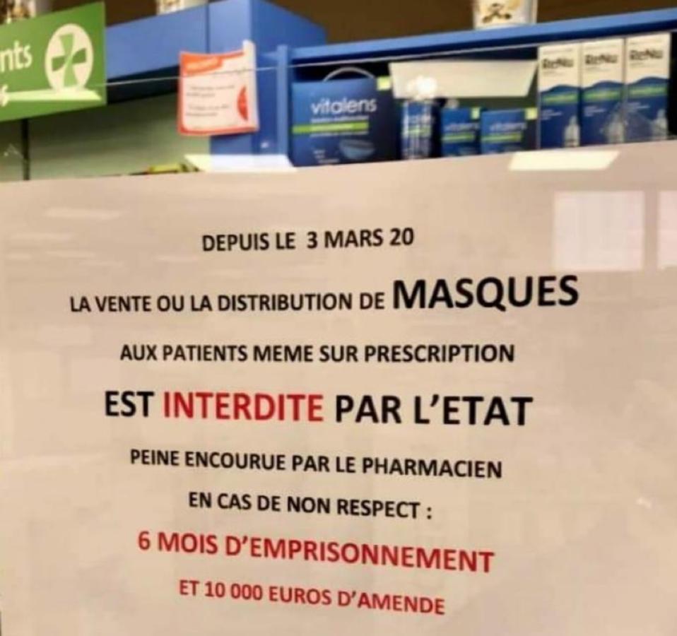 Message affiché à l'entrée d'une pharmacie - Copie d'écran